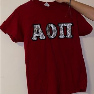 Alpha omicron pi aoii red t-shirt stitched letters
